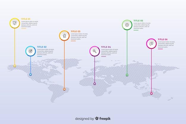 Platte wereldkaart infographic ontwerpsjabloon