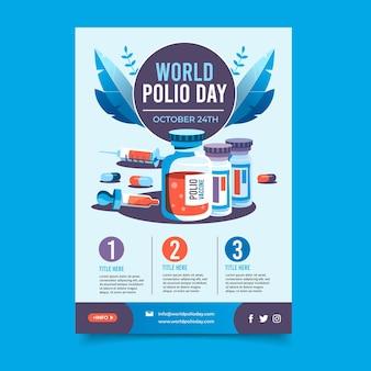 Platte wereldpolio dag verticale postersjabloon