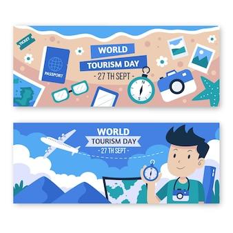 Platte wereldtoerisme dag horizontale banners set