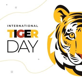 Platte wereldwijde tijger dag illustratie