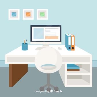 Platte werkruimte concept
