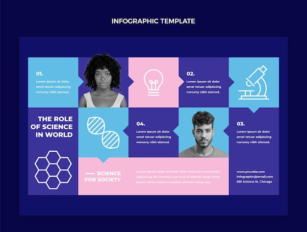 Platte wetenschap infographic sjabloon