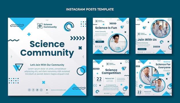 Platte wetenschap instagram postsjabloon