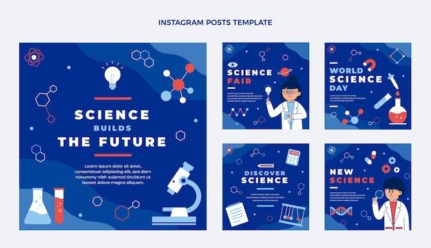 Platte wetenschap instagram postverzameling