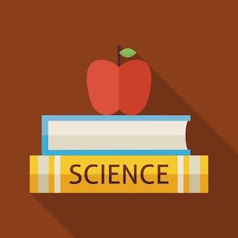 Platte wetenschapsboeken met appel en kennis illustratie met schaduw. terug naar school en onderwijs vectorillustratie. platte stijl kleurrijke boeken met lange schaduw. bibliotheek en lezen