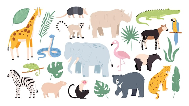 Platte wilde safaridieren uit regenwoud en savanne. jungle bosvogels, aap en slang. afrikaanse zebra, krokodil en jaguar vector set. illustratie van savanne dieren in het wild, afrika wild
