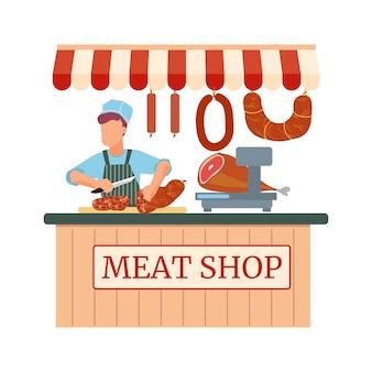 Platte winkel met slager en vleeswaren