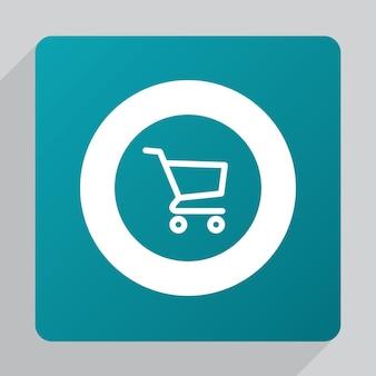 Platte winkelwagen pictogram, wit op groene achtergrond