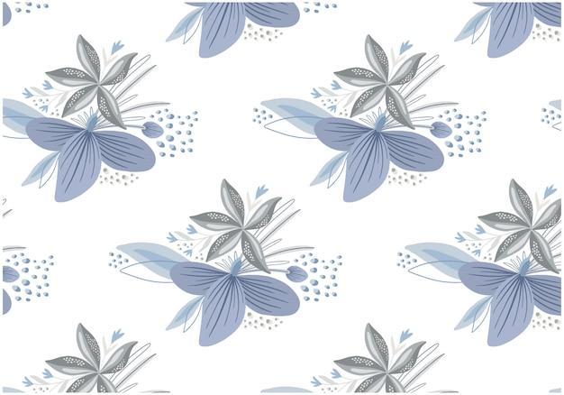 Platte winter bloemen naadloze patronen ingesteld
