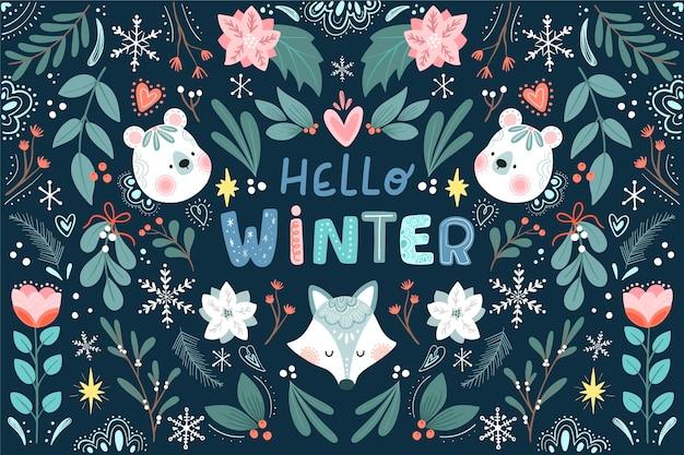 Platte winter floral achtergrond