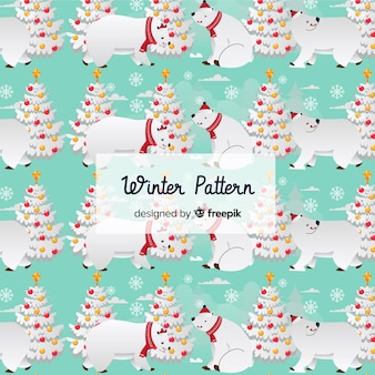 Platte winter patroon collectie