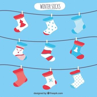 Platte winter socks collectie