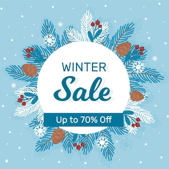 Platte winter verkoop achtergrond Premium Vector