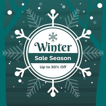 Platte winter verkoop achtergrond