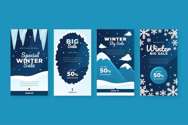 Platte winter verkoop achtergrond Gratis Vector