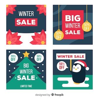 Platte winter verkoop kaarten instellen