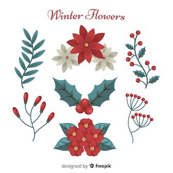 Platte winterbloemen en bladeren