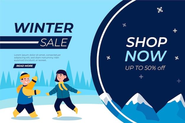Platte winteruitverkoop illustratie en banner