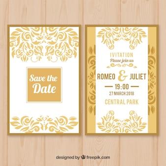 Platte witte en gele bruiloft uitnodiging