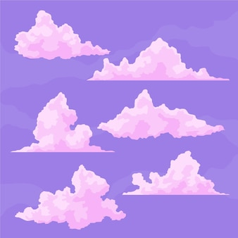Platte wolk illustratie set