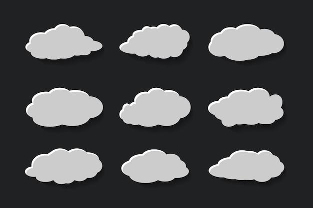 Platte wolken in papercut-stijlcollectie