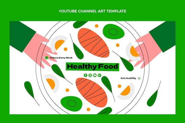 Platte youtube-kanaalkunst voor gezond eten
