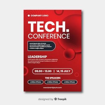 Platte zakelijke conferentie brochure sjabloon