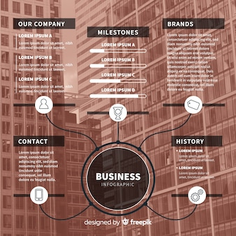 Platte zakelijke infographic met foto