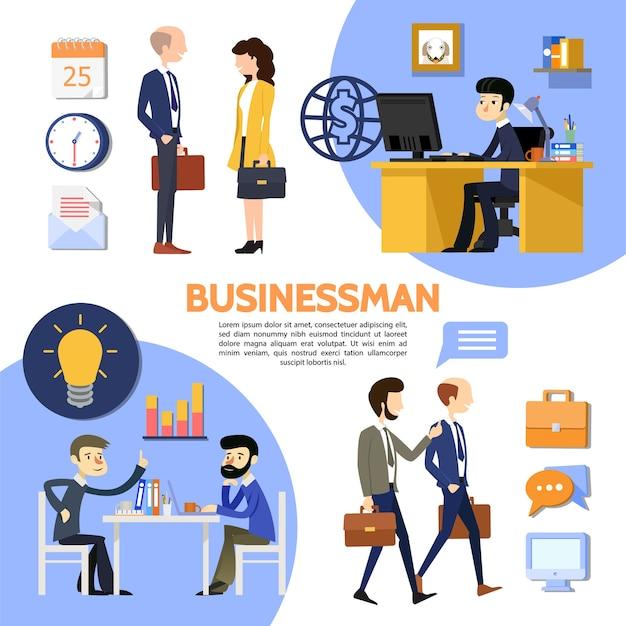Platte zakelijke kantoor poster met werknemers managers werkplek gloeilamp werkmap grafiekkalender