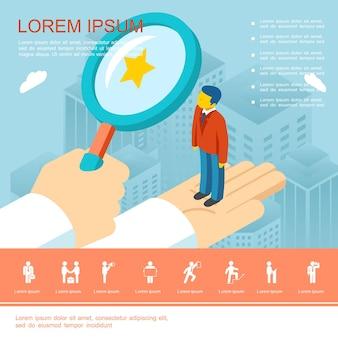 Platte zakelijke wervingssjabloon met human resource manager die goede werknemersillustratie kiest