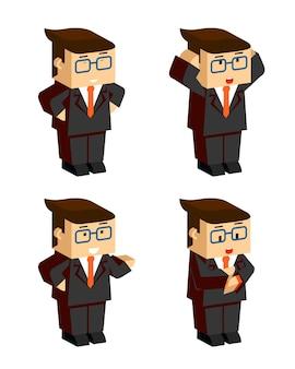 Platte zakenman karakter emoties op witte achtergrond