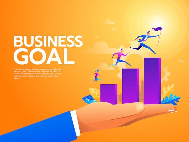 Platte zakenmensen klimmen de trap op. carrièreladder met karakters