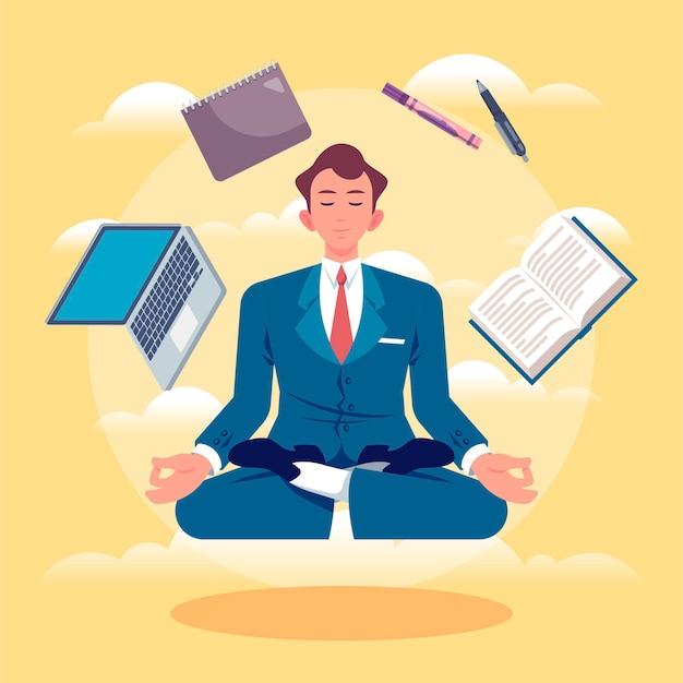 Platte zakenmensen mediteren illustratie