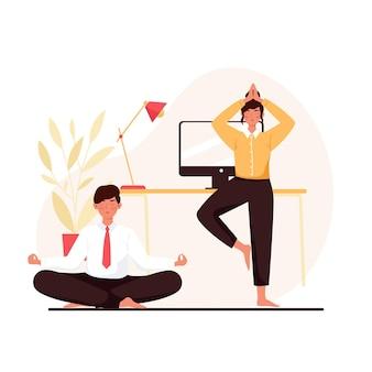 Platte zakenmensen mediteren