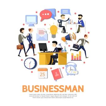 Platte zakenmensen ronde concept met werknemers werkplek kladblok klok kalendercomputer