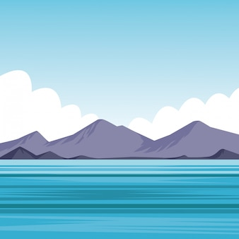 Platte zee landschap cartoon