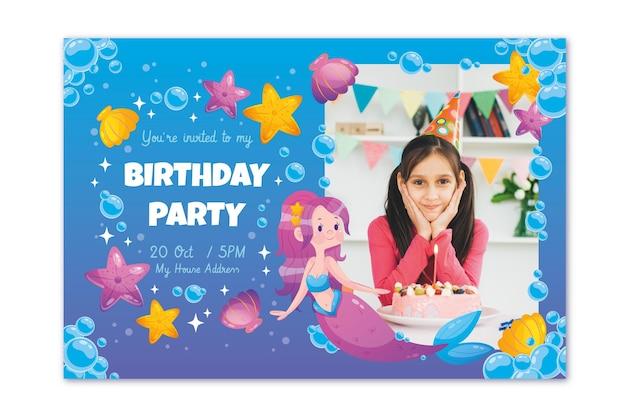 Platte zeemeermin verjaardag uitnodiging sjabloon met foto