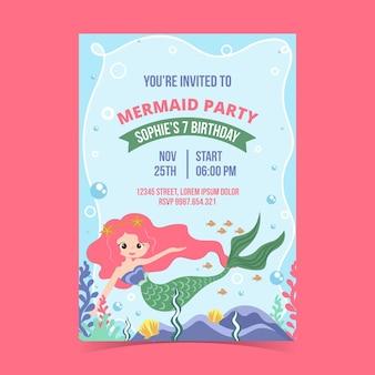 Platte zeemeermin verjaardag uitnodiging sjabloon