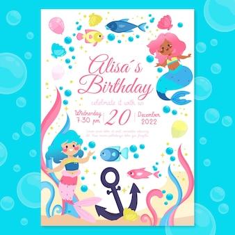 Platte zeemeermin verjaardagsuitnodiging