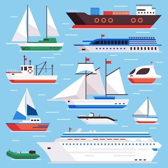 Platte zeeschepen. marine scheepvaart zeilboot, oceaan cruiseschip en ijsbreker schip set