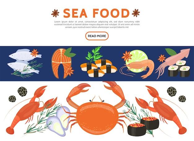 Platte zeevruchten pictogrammen instellen met vis zalm steak garnalen inktvis kreeften krab sushi rolt kaviaar rozemarijn