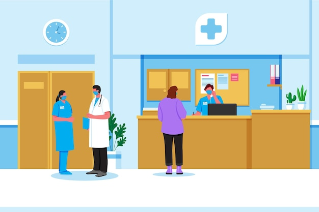 Platte ziekenhuis receptie scène