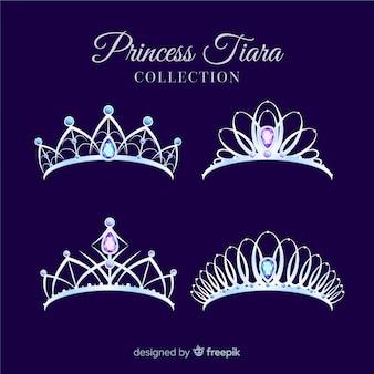 Platte zilveren prinsessen tiara collectie