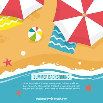 Platte zomer achtergrond met parasols