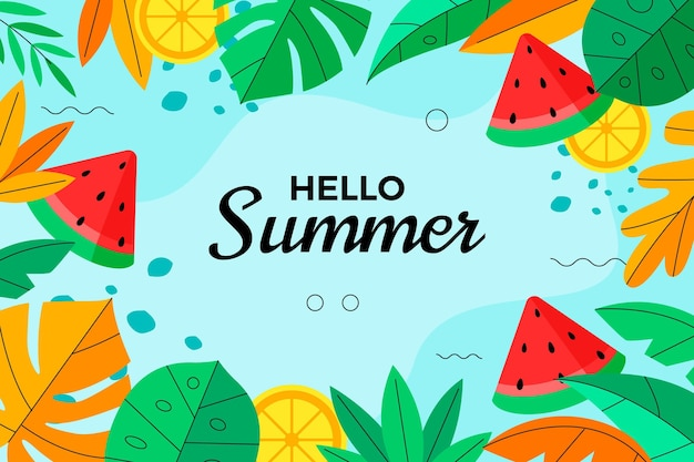 Platte zomer achtergrond Gratis Vector