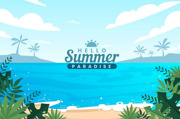 Platte zomer achtergrondontwerp
