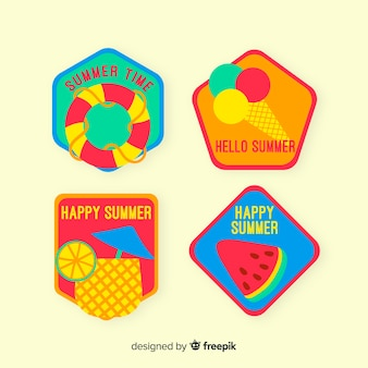 Platte zomer badge collectie