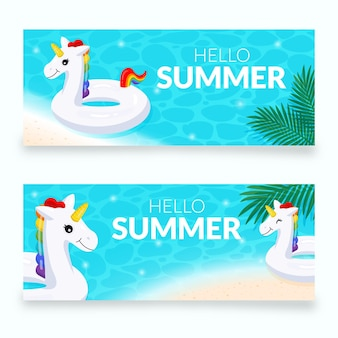 Platte zomer banners instellen