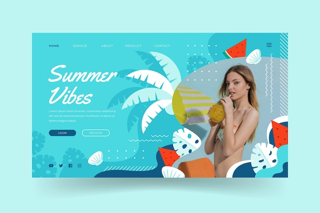 Platte zomer bestemmingspagina sjabloon met foto