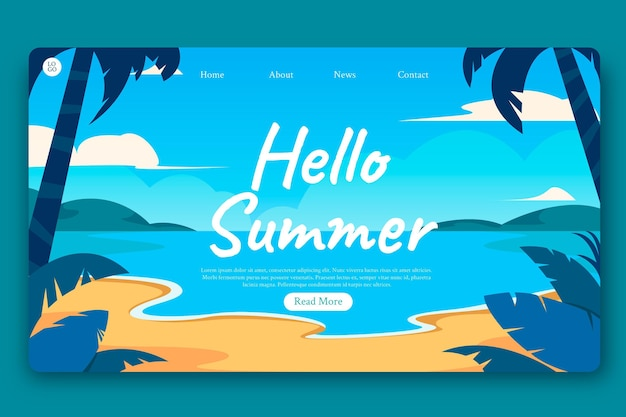 Platte zomer bestemmingspagina sjabloon